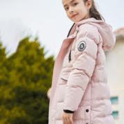 探路者 儿童防水透湿科技面料 长款羽绒服外套 90%鹅绒