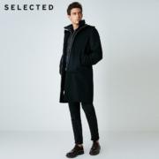 SELECTED 418427503 男士毛呢大衣两件套