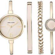 Anne Klein 女士 AK/3290LPST 金色调 手镯手表和施华洛世奇水晶 手链套装 到手306.94元