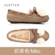 justter 小牛皮加厚毛绒豆豆鞋