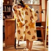 宫蝶 睡袍 女士 秋冬季 珊瑚绒 法兰绒浴袍