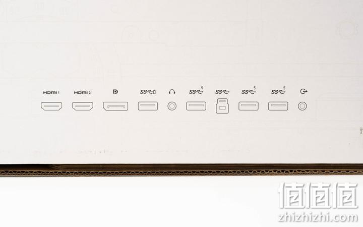 Alienware AW2521H游戏显示器包装盒上面的接口介绍