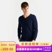 拉夫劳伦制造商 本米 男V领100%澳洲美利奴羊毛衫