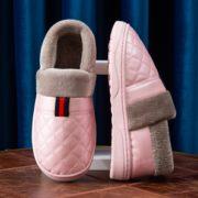 保暖防水 !萱宜阁 XYG-B18077-a 皮面棉拖鞋