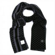 Gucci 古驰 中性GG字母图网状条纹羊毛围巾  黑色/灰色