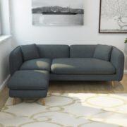 历史低价!择木宜居 实木布艺沙发组合 三人位+脚踏