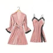 PEANOJEAN 6795 女士深V吊带睡裙两件套