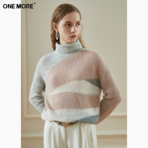 ONE MORE A1MA9412A27 女士高领拼色羊毛毛衣99元包邮