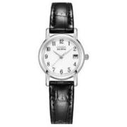 CITIZEN 西铁城 光动能腕表系列 EW1270-06A 女士光动能手表 23.2mm 黑盘 黑色小牛皮表带 圆形