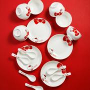 Hellokitty 红色蝴蝶结系列 陶瓷碗碟套装 10件套39元包邮(需用券)