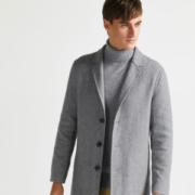 拉夫劳伦制造商本米 男70%美利奴羊毛 人字纹西装领大衣