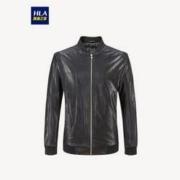 HLA 海澜之家 HWJAD1R002A 男士质感几何花纹皮夹克227元包邮(双重优惠)