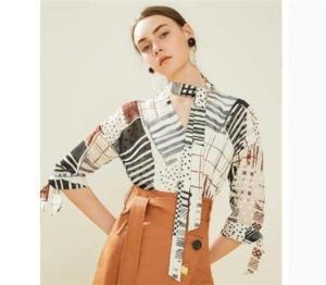 Lily  女士V领 绑带雪纺衬衫