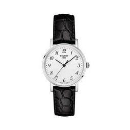 TISSOT 天梭 魅时系列 T109.210.16.032.00 女士石英手表 30mm 白盘 黑色皮带 圆形