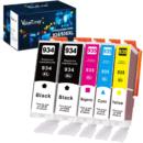 Valuetoner 墨盒 5 件装(2 件黑色 1 件青色 1 件洋红色 1 件黄色) 适用于 HP打印机