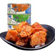 鲜嫩松软!隽品湾 豆豉三文鱼罐头 100g*4罐