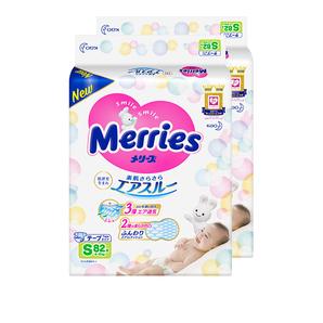 3日10点!黑卡会员! kao 花王 Merries 妙而舒 婴儿纸尿裤 S82片 2件装