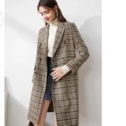 3COLOUR 三彩 女式 中长款 格纹花毛呢大衣