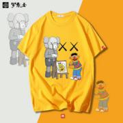 潮牌芝麻街宽松情侣短袖T恤