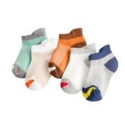 极客鹿 儿童纯棉薄款短袜 5双装