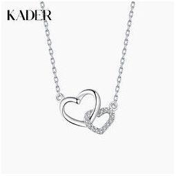 KADER 卡蒂罗 XL0305 女士纯银双心项链纯银锁骨链