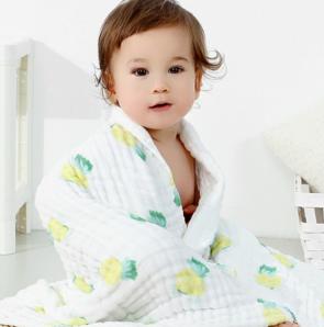 柔软吸水!仟纱集 婴儿纱布浴巾 85*85cm+送一条方巾