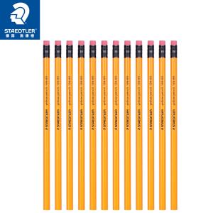 STAEDTLER 施德楼 德国施德楼(STAEDTLER)铅笔六角黄杆日常书写笔带橡皮头12支134-HB