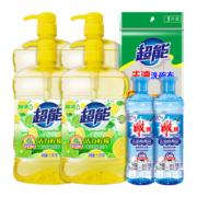 88VIP:超能 餐具果蔬洗洁精 1.5kg*4瓶+220g*2瓶+洗碗布 *2件