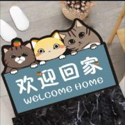 仙女花 卡通地垫防滑可剪裁 三只小猫回家 40*60CM