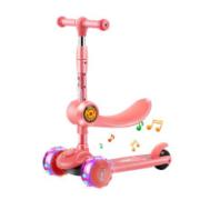 米迪象儿童酷炫闪光轮滑板车 粉色悍马轮+座椅+音乐