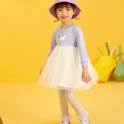 MARCOLOR 马卡乐 2021春季新款女童可爱全棉印花针织拼接网纱连衣裙