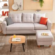 现代北欧风!QuanU 全友 102289B 可拆洗布艺沙发 三人位+脚凳¥1599.00