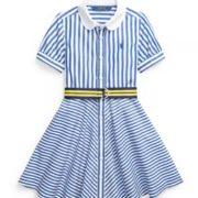 Polo Ralph Lauren 拉夫劳伦 女童条纹腰带衬衫裙