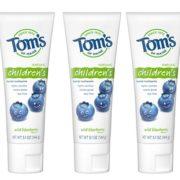 prime会员!Tom's of Maine汤姆小屋儿童天然含氟防蛀牙膏蓝莓味 144g*3支到手约¥72.01
