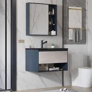 PLUS会员: VAMA VAMA 岩板浴室柜 80cm-黑金岩板(普通镜柜)含龙头配件1179元包邮(需用券)
