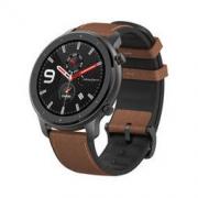 AMAZFIT GTR系列 A1901 铝合金版 智能手表 47mm 黑色 棕色硅胶表带 40M(GPS、扬声器)