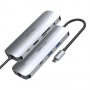 VENTION 八合一 扩展坞(100WPD+千兆网口+HDMI+USB*3+SD/TF)