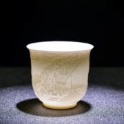 唐义 白瓷羊脂玉 大枫桥夜泊浮雕杯215ML5.8元包邮