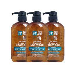 KUMANOYUSHI 无硅马油 洗护合一洗发水 600ml 3瓶装