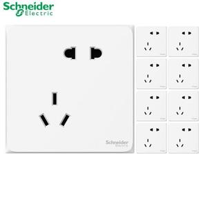 PLUS会员! Schneider 施耐德 皓呈 白色错位五孔插座 10只装