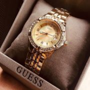 GUESS 盖尔斯  女士不锈钢水晶点缀手链手表U85110L1 到手440.04元¥403.34