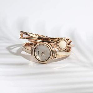 Anne Klein 安妮·克莱恩 AK/3292BKST 施华洛世奇水晶 女士手镯手表套装 含税到手¥287.53