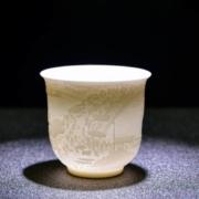 唐义 白瓷羊脂玉 大枫桥夜泊浮雕杯 215ML5.8元包邮