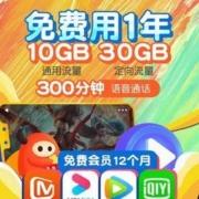 CHINA TELECOM 中国电信 福利卡 10G通用+30G定向+300分钟 赠送任意视频VIP会员12个月4.9元(需用券)