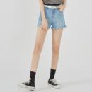 HSTYLE 韩都衣舍 OM81909 2021夏季款印花牛仔短裤