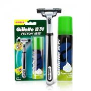 Gillette 吉列 旋转双层手动剃须刀组合装(1刀架+1刀头+剃须泡50g)