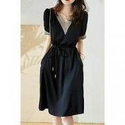 wonderbra HX6100201 女士V领拼接时尚镂空系带连衣裙126元(需用券)