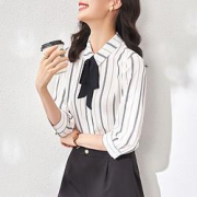 OSA 欧莎 女款七分袖条纹雪纺衫衬衫