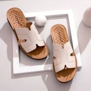 2021夏季新款!奥康 真皮妈妈坡跟防滑凉拖鞋 2款多色