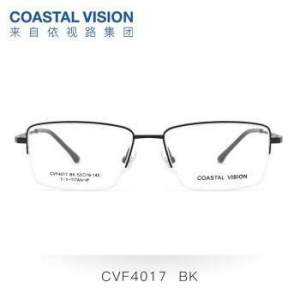 Coastal Vision 镜宴  钛+金属-半框-4017BK-黑色 镜框+A4 1.60依视路非球面镜片(现货)